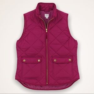 J.CREW Berry Quilted Fall Vest